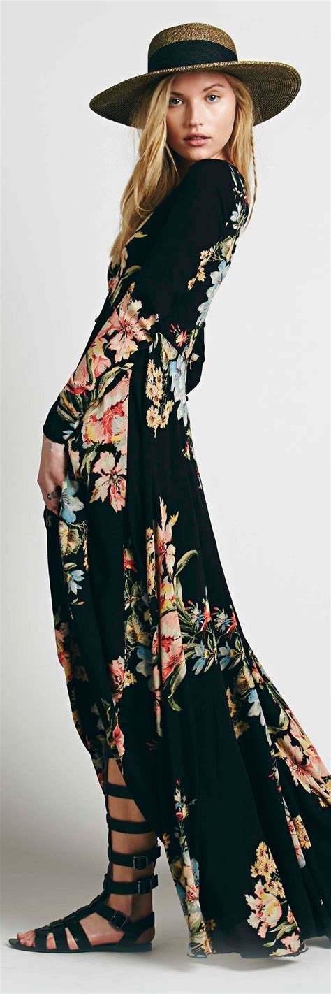 floral maxi dress straw hat w black band and black