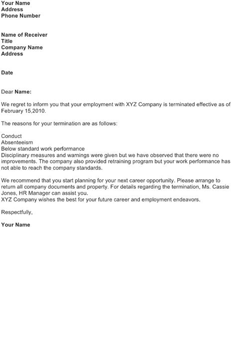 employee termination announcement template termination letter sle free business letter