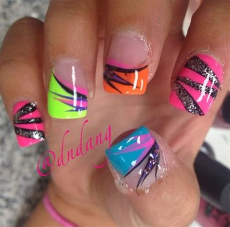bright color nail designs best 25 neon nails ideas on colorful nail