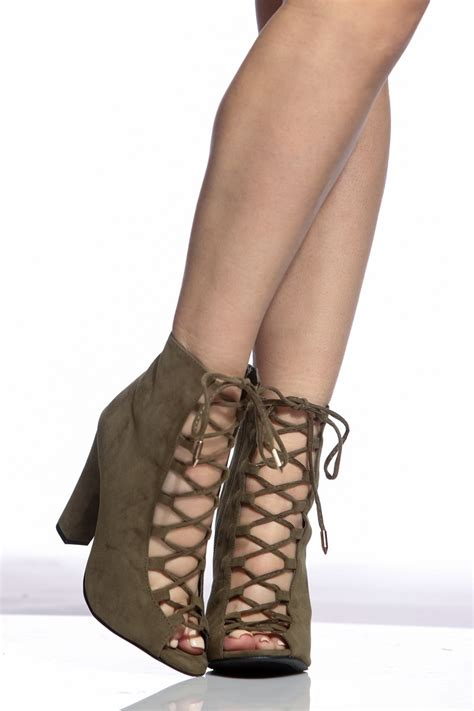 Heels Claudio 2 Brown olive faux suede lace up chunky booties cicihot heel