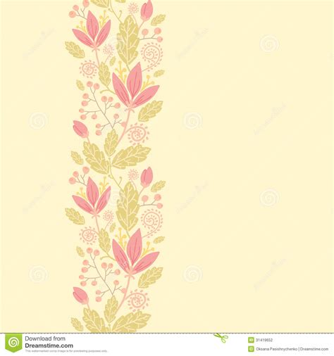 design background vertical flowers and berries vertical seamless pattern stock