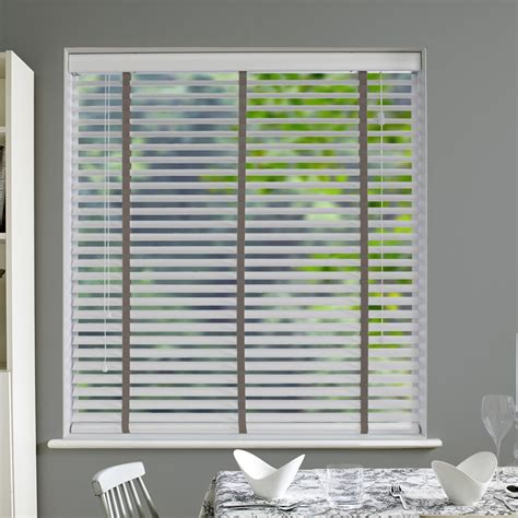 Wooden Tape Blinds Nile Contrast 50 Taped Wooden Blind In White With Dark
