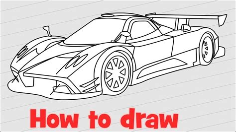 pagani drawing how to draw a car pagani zonda r step by step youtube