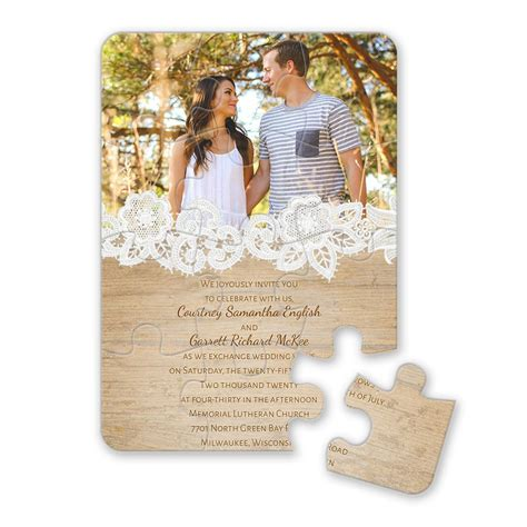 photo wedding invitations wood and lace puzzle invitation invitations by