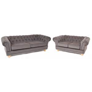Chesterfield Vintage Grey Fabric Standard 3 2 Seater Sofas Grey Chesterfield Sofa