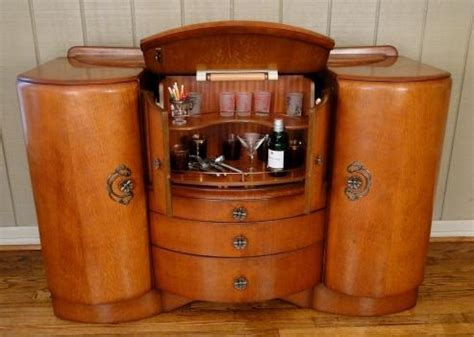 antique pop open deco bar wine liquor drinks cabinet