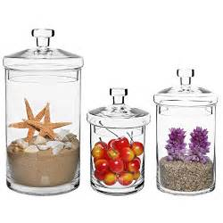 Fancy Bathroom Jars Set Of 3 Clear Glass Kitchen Bath Storage Canisters