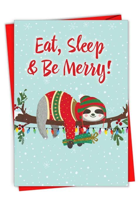 eat sleep   merry hilarious merry christmas printed card