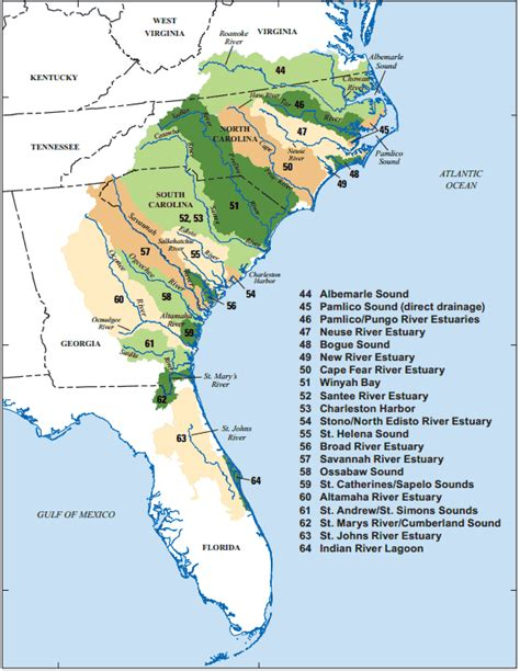 map of southeast coast united states usgs nawqa tracking the source and quantity of nutrients