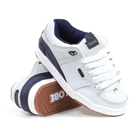 globe shoes for globe fusion white navy grey s skate shoes ebay
