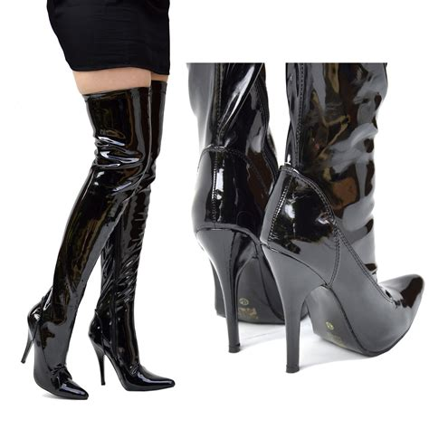 high heels boots womens knee high heel stiletto thigh high zip