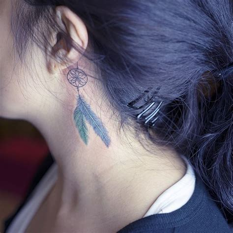 dreamcatcher tattoo behind ear ear tattoos ideas behind the ear tattoos for guys and girls