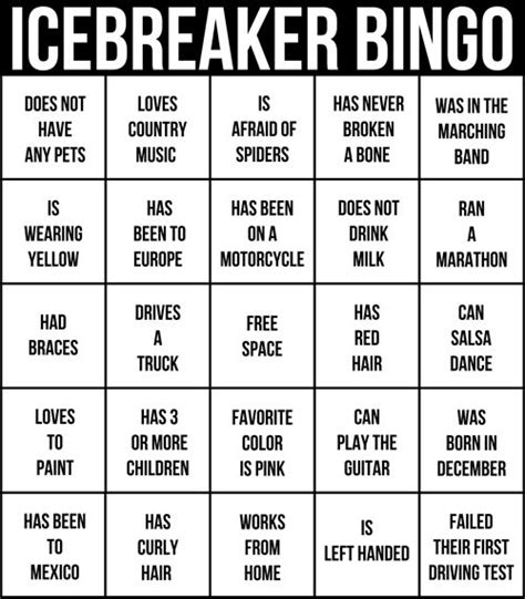 people bingo icebreaker worksheet pictures to pin on
