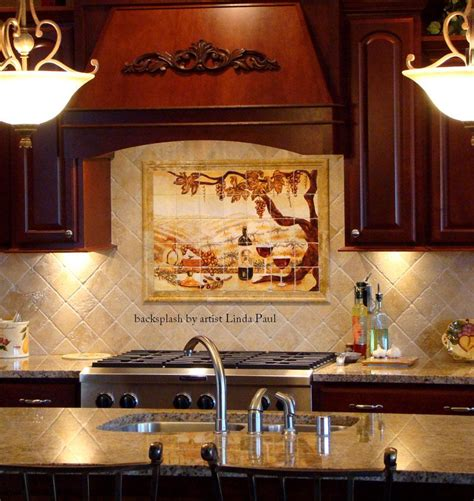 tile backsplash mural the vineyard tile murals tuscan wine tiles kitchen backsplashes