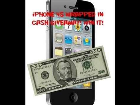 Free Iphone 4s Giveaway - giveaway iphone 4s wrapped in 50 dollar bills youtube