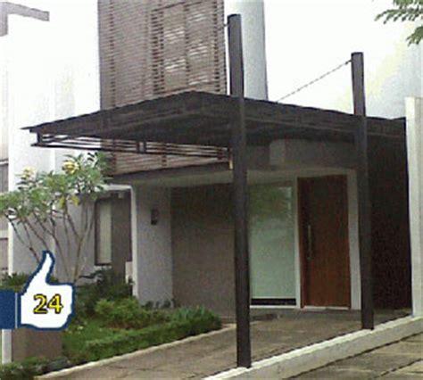 desain pagar garasi mobil contoh kanopi garasi minimalis tiang 1 sisi