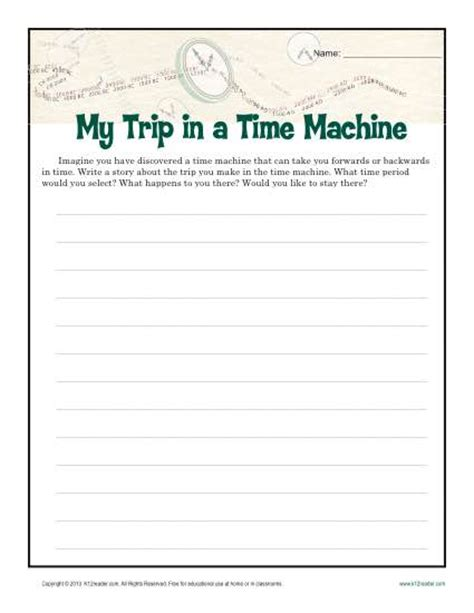 printable writing worksheets 6th grade my time machine trip creative writing prompt for 6th