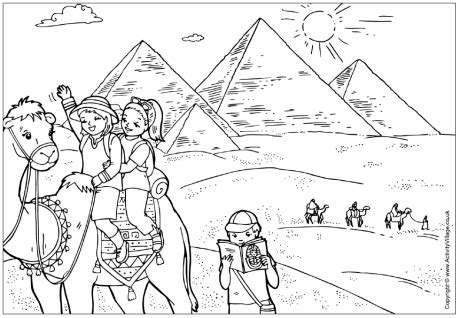 coloring pages egyptian pyramids the pyramids colouring page children visiting the