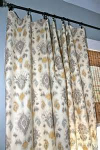 Yellow and grey curtain panels grey blue yellow ivory ikat