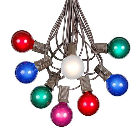 Outdoor Colored Light Bulbs 100 Multi Colored G40 Globe Outdoor String Light Set On Brown Wire Novelty Lights Inc