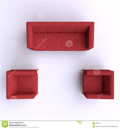 Floor Plan Couch by Sofa And Two Chairs Top View Stock Illustration Image