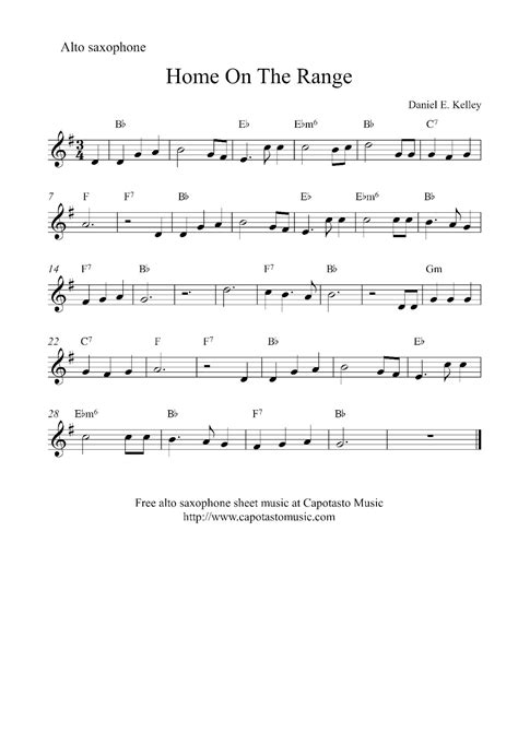 free printable sheet music alto sax free easy alto saxophone sheet music home on the range