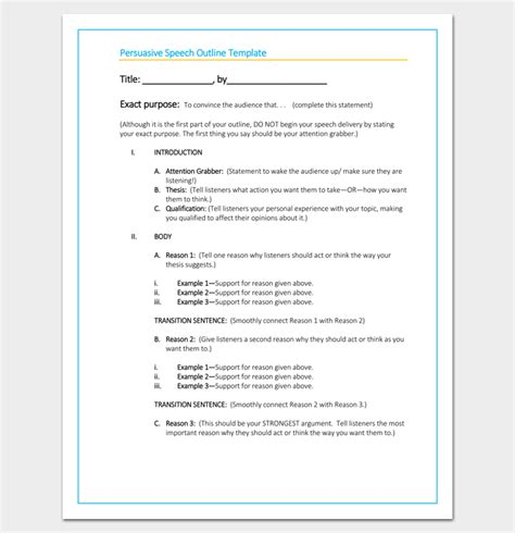 Persuasive Speech Outline Template by Persuasive Speech Outline Template 15 Exles Sles
