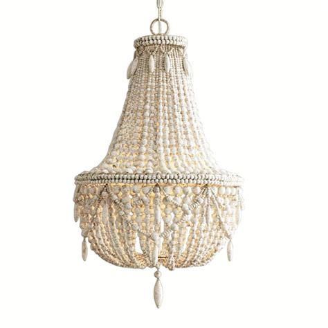 french country white wood bead chandelier dining room