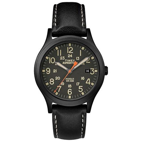 Expedition 6646 Silver Black Leather Black Original timex unisex tw4b11100 expedition scout 36 brown titanium blue leather from usa