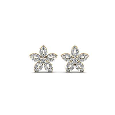 flower design diamond earrings small flower diamond stud earrings