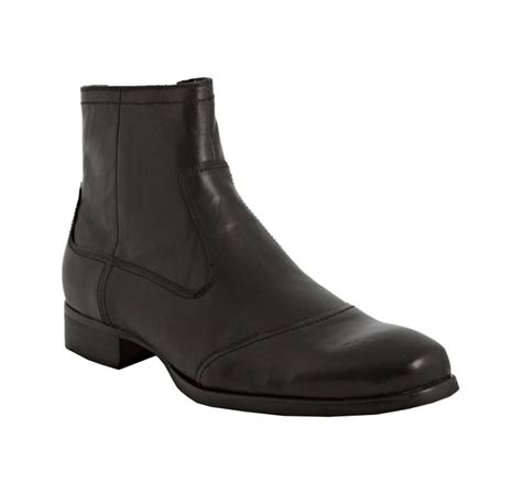 kenneth cole black leather city bound boots in black for