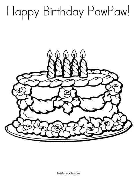 coloring pages happy birthday cake candles happy birthday pawpaw coloring page twisty noodle