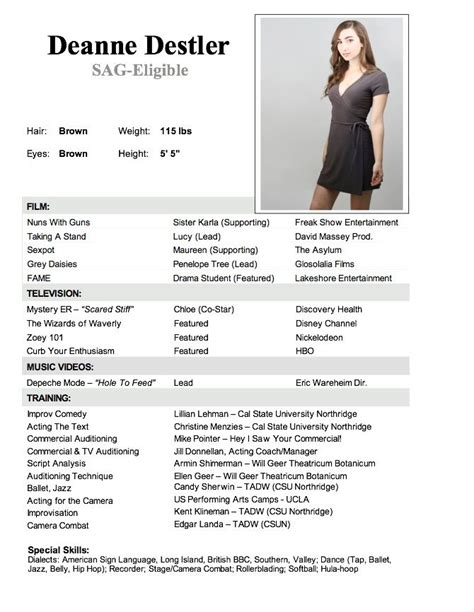 child actor resume template actor resume with no experience actor resume with no