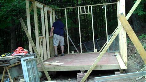 erecting   pressure treated wall   shed youtube