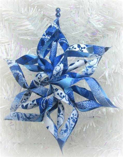 snowflake pattern material 3d fabric snowflake ornament blue christmas tree