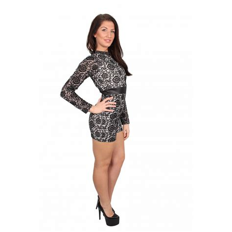 black and white patterned playsuit black and white long sleeve floral playsuit