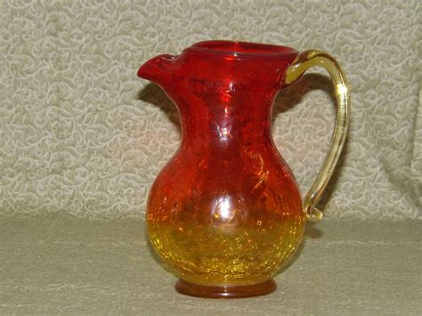 vintage amberina crackle glass pitcher 6 quot ebay