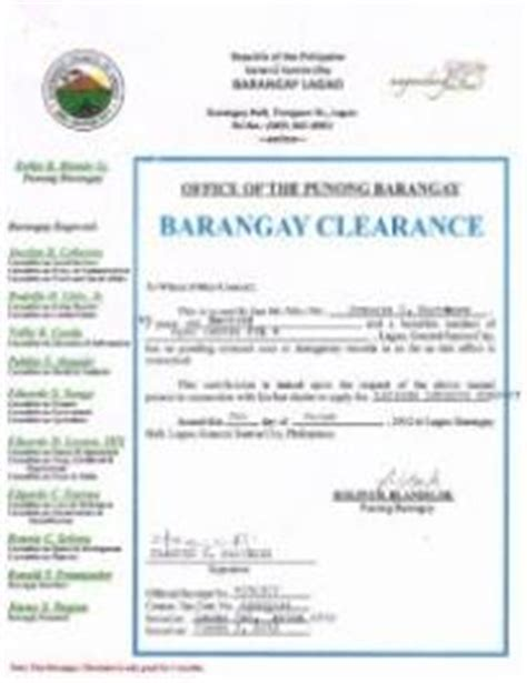 Endorsement Letter For Barangay Clearance Ecc Loan Application