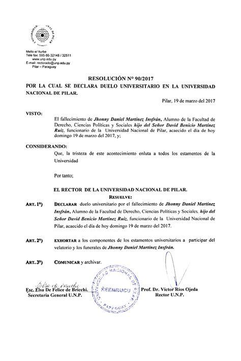 resolucion de intendencia nacional n resoluci 211 n n 186 90 2017 por la cual se declara duelo