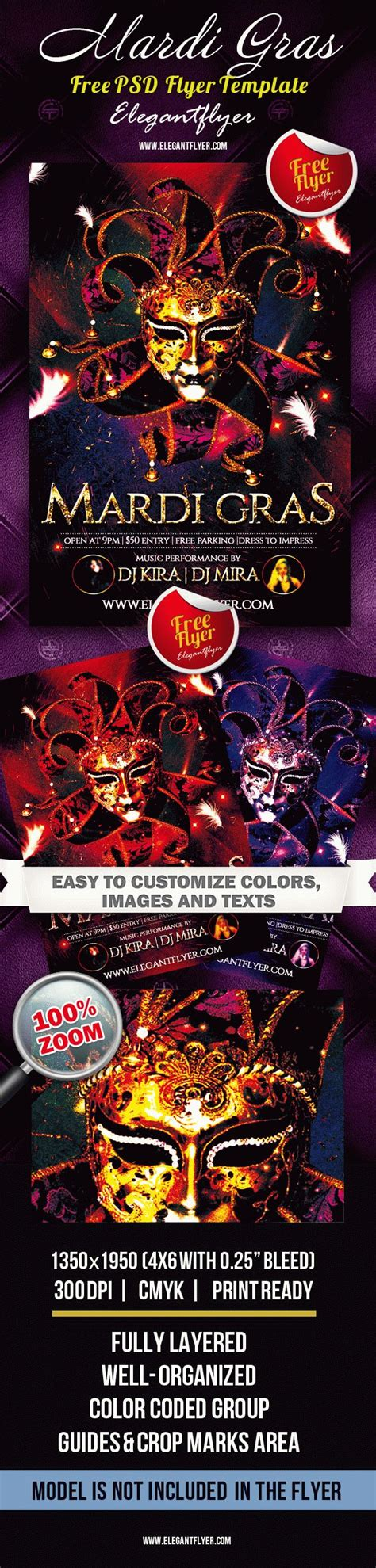 Mardi Gras Club And Party Free Flyer Psd Template By Elegantflyer Mardi Gras Flyer Template Free