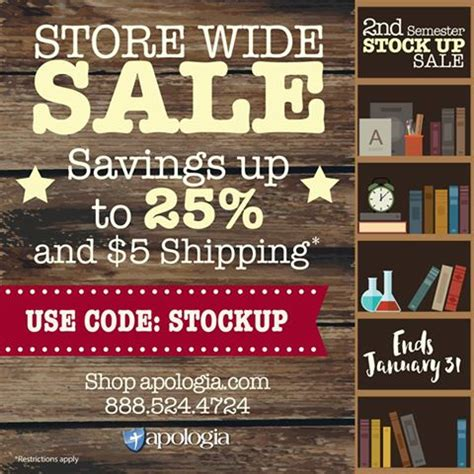 Stock Up Alert by Deal Alert Apologia Stock Up Sale 25 And 5 Shipping