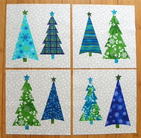 quilt block set christmas trees blue green