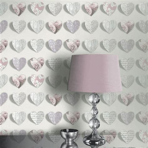 Wallpaper Sticker Dinding Shabbychic 10m hearts wallpaper blush arthouse 669701 pink roses new ebay