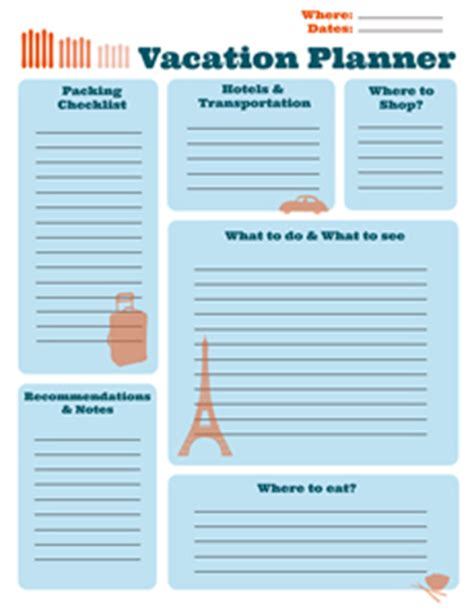 vacation planning template free printable planners activities educational