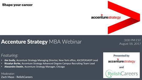 Relish Mba Careers by Accenture Strategy 2017 Webinar With Relishcareers Relish