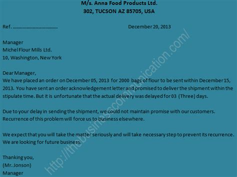 Complaint Letter To Jewelry Store Sle Of Complaint Letter Specimen Of Complaint Letter