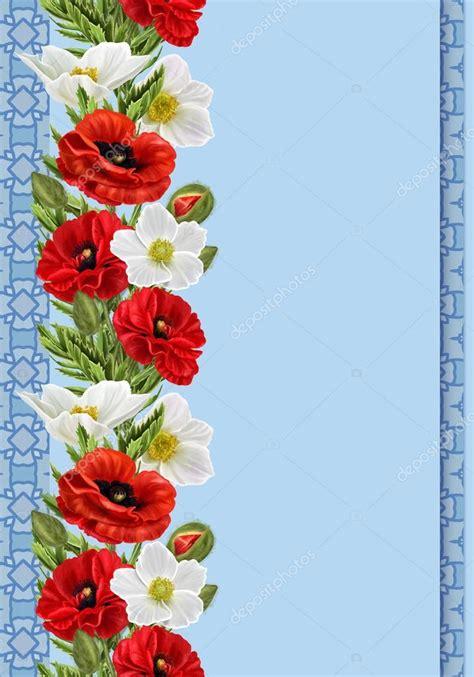 cenefas flores cenefa floral vertical patr 243 n fondo transparente de