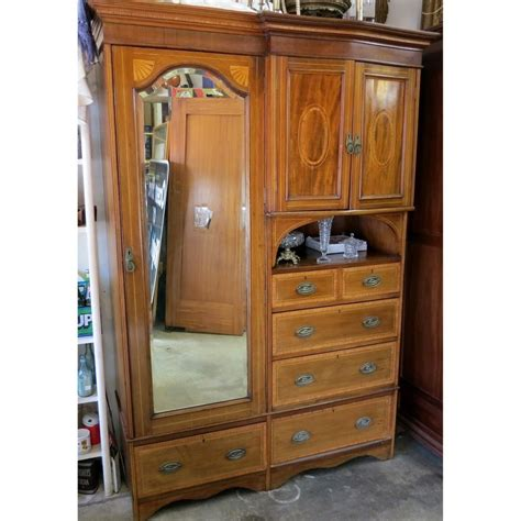 antique armoire with mirror and drawers edwardian compactum wardrobe antique armoire storage