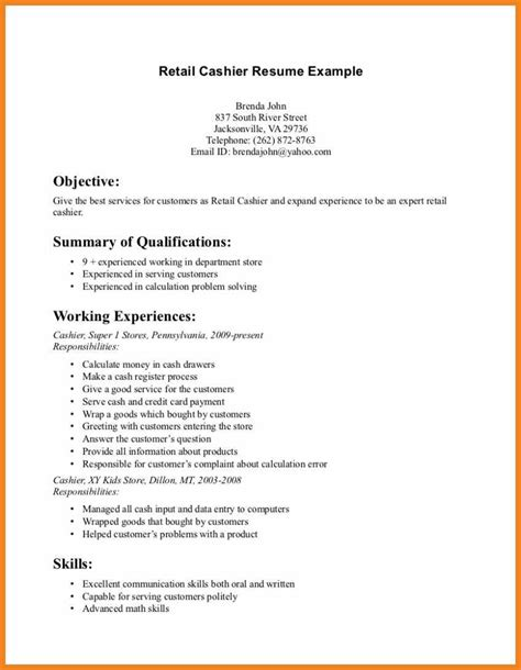 objective on a resume for retail retail resume objective teller resume sle