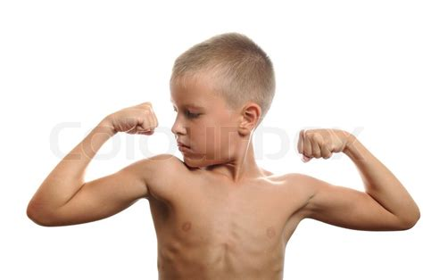 little boy flexing bicep handsome muscular young man flexing biceps isolated